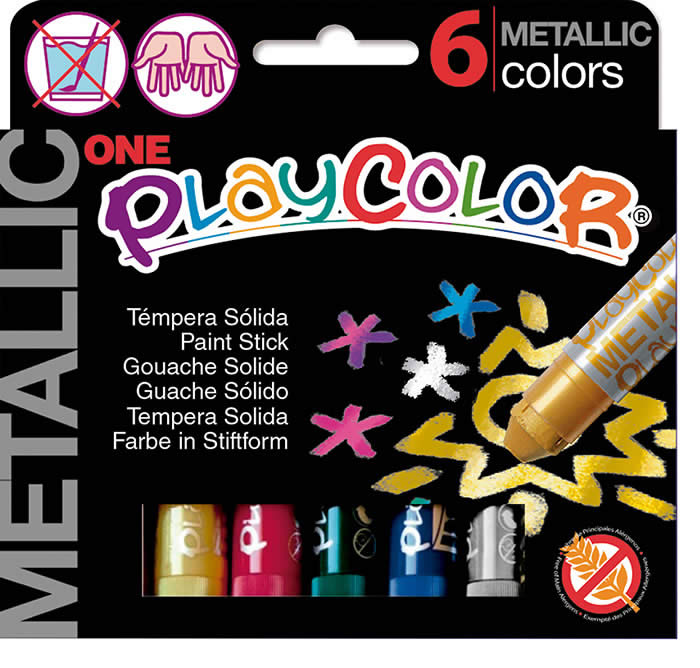 Tempera playcolor solida playcolor 6 barritas colores metalicos (10321)