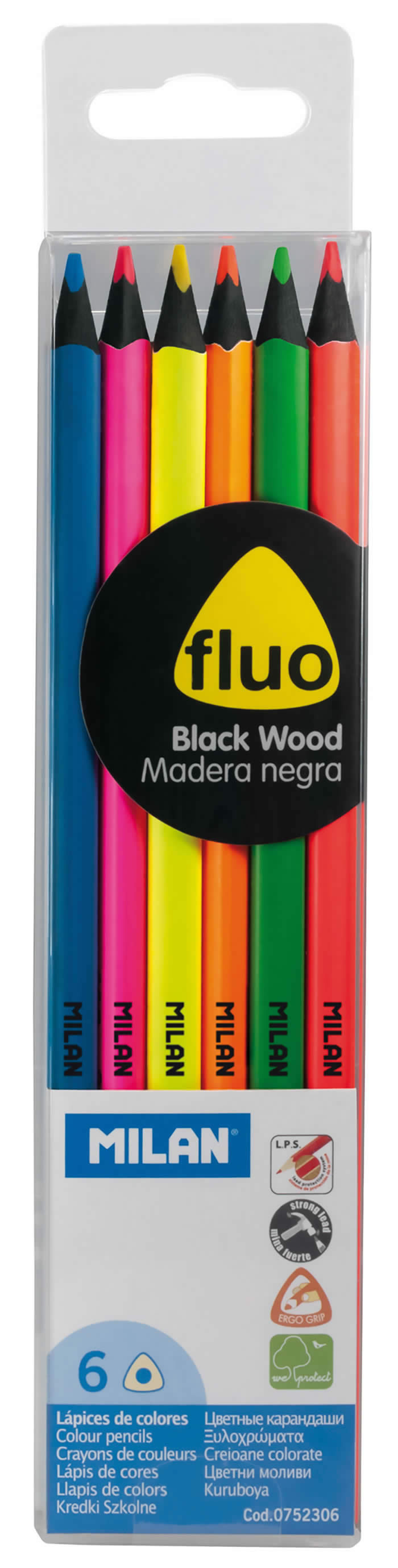 Lapices colores Milan 6 uds. fluo madera