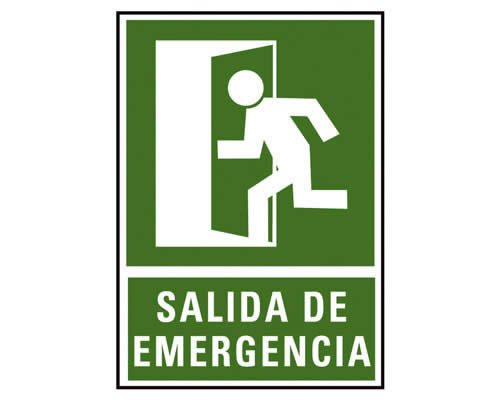 PLACA SEÑALIZACION A. 2000 SALIDA EMERGENCIA 224X327 MM. (01C6170-02VE)