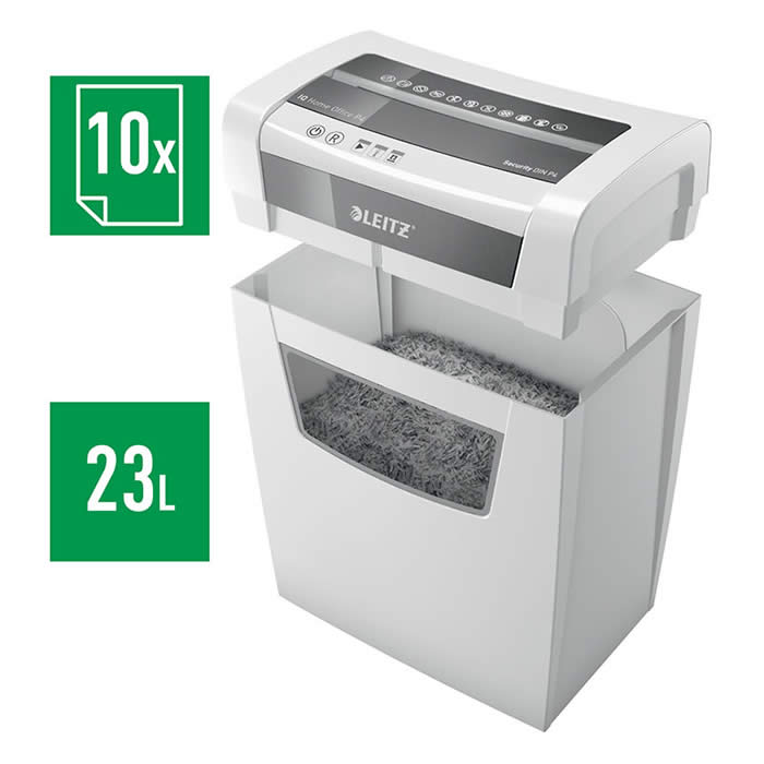 DESTRUCTORA LEITZ IQ HOME OFFICE P4 BLANCO/PLATA (80090000)