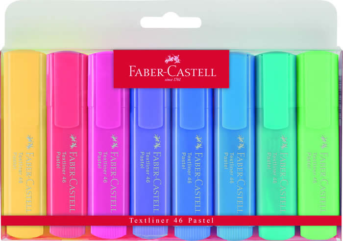 Pack 8 marcadores Faber Castell textliner colores pastel