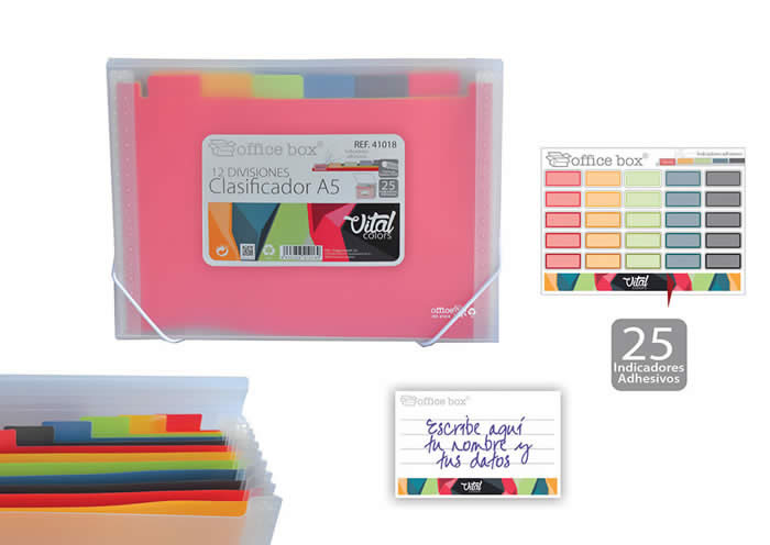 Clasificador OFFICE BOX con gomas 12 divisioes. Tamaño A5. Vital colors 41018)