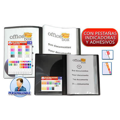 Carpeta OFFICE BOX 30 fundas. Personalizable. Tamaño A4. Color negro  (14367)