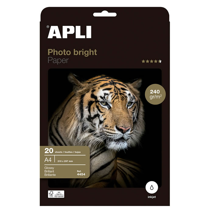 PAPEL PHOTO APLI BRIGHT 240 GRS. 20 HOJAS (4454)