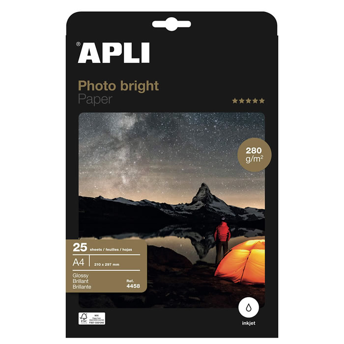 PAPEL PHOTO APLI BRIGHT PRO. 280 GRS. 25 HOJAS (4458)