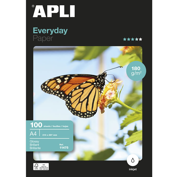 PAPEL GLOSSY APLI A4 EVERYDAY PAPER 180 GRS. 100 HOJAS (11475)