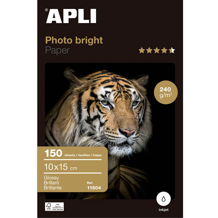 PAPEL PHOTO APLI BRIGHT PRO. 240 GRS. 10X15 CM. 150 HOJAS (11504)