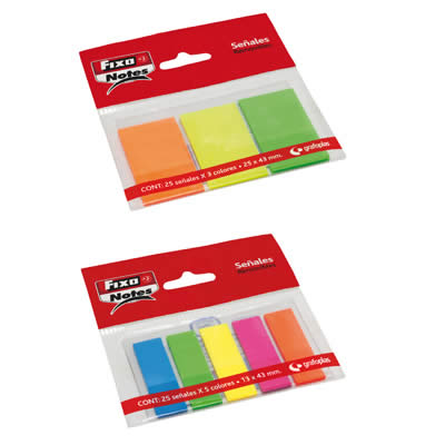 PUNTOS DE PAGINA FIXO NOTES 25X43 MM. 3 COL. X 25 NEON (65006280)