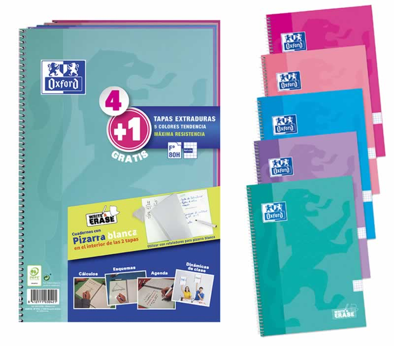 Cuaderno oxford pack 4+1 fº school write&erase 80h 4x4 surtido tendencia (400122766)