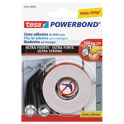 CINTA TESA DOBLE CARA POWERBOND ULTRA FUERTE 1,5 M.X19 MM. (55791-00002-01)