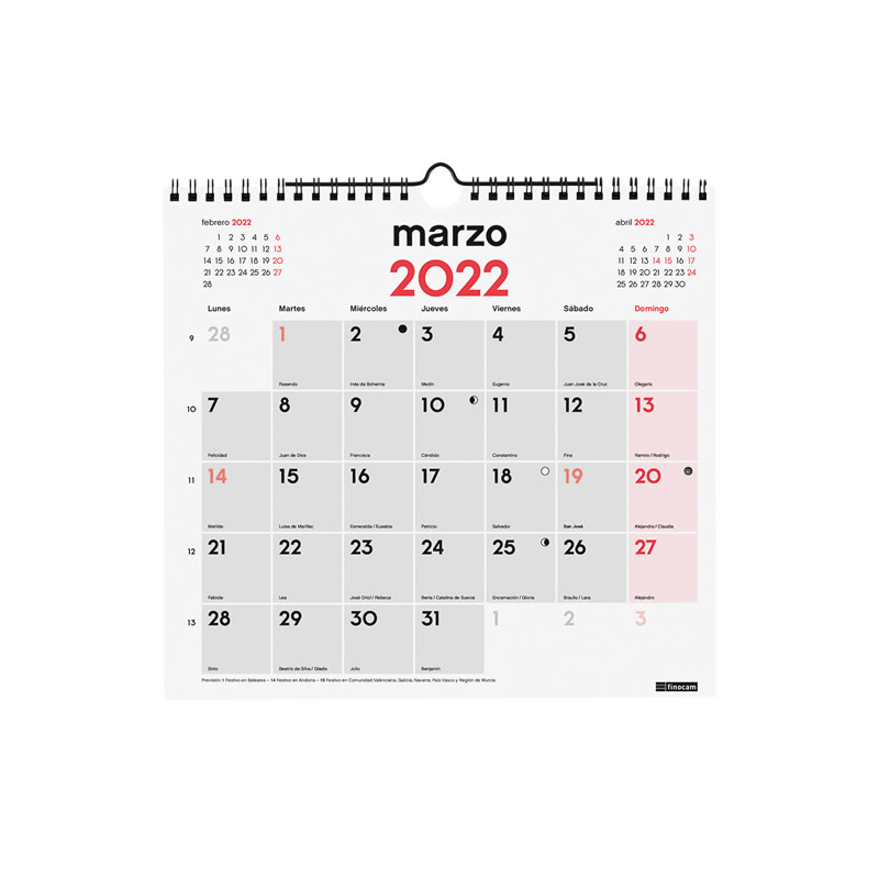 Calendario Pared 2021 Para Escribir Tamaño M Doble Espiral 120 Grs. (780060021)