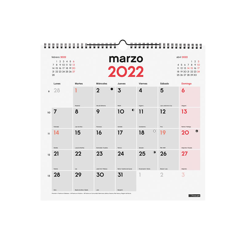 Calendario Pared 2021 Tamaño L Doble Espiral 120 Grs. (780070021)