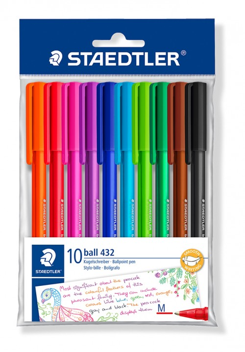 Bolígrafo STAEDTLER BALL 432 OFFICE COLOURS. 10 uds.