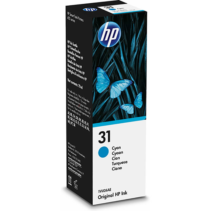 HP 31 Botella de tinta original de 70-ml Cyan 1VU26AE
