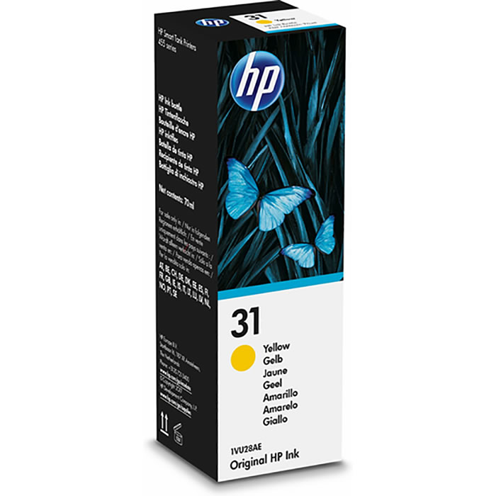 HP 31 Botella de tinta original de 70-ml Amarillo 1VU28AE