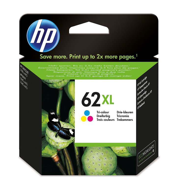 Cartucho de tinta original HP 62XL de alta capacidad Tri-color