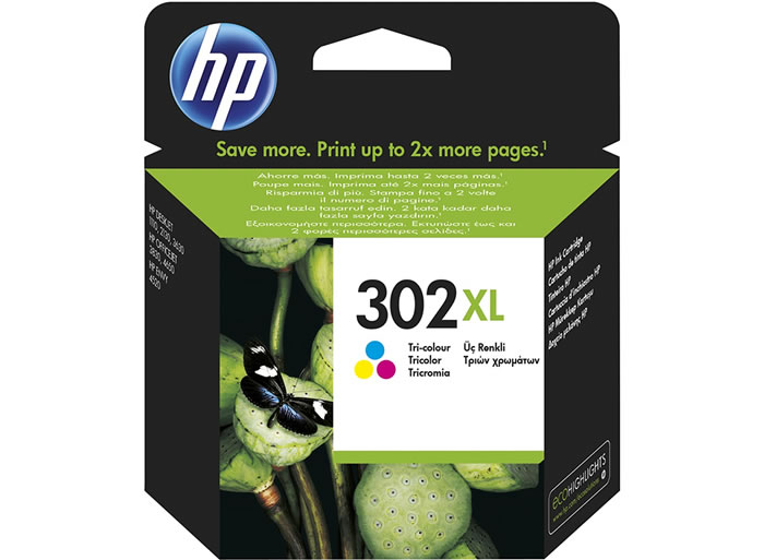 Cartucho de tinta original HP 302XL de alta capacidad tri-color