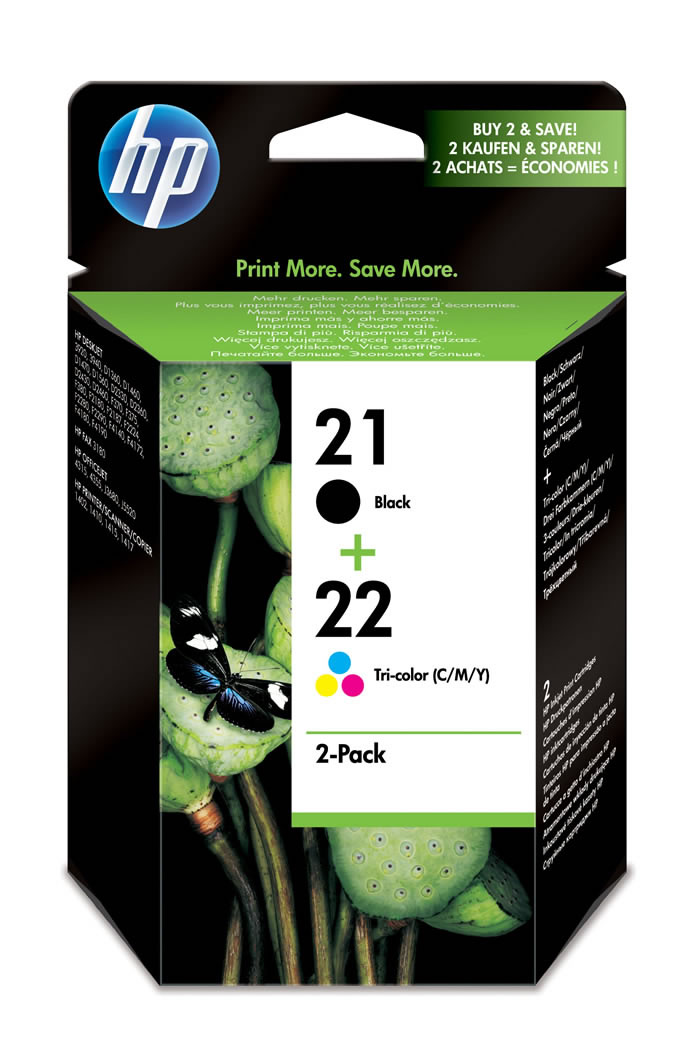 Pack de ahorro de 2 cartuchos de tinta original HP 21 negro/22 Tri-color