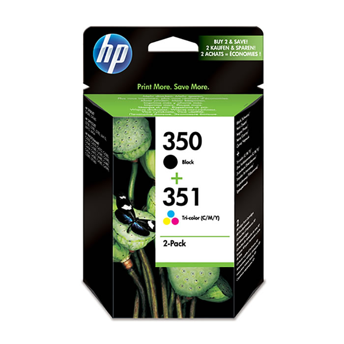 Pack de ahorro de 2 cartuchos de tinta original HP 350 negro/351 tri-color