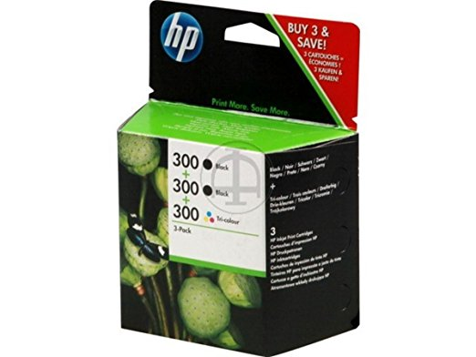 Pack de ahorro de 3 cartuchos de tinta original HP 300 negro (2) y tri-color (1)